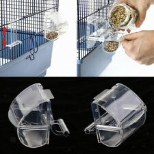 2pcs Automatic Poultry Feeder Acrylic Food Container Cage Hanging Feed Bowl