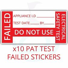 10x PAT Testing Fail Labels/Stickers Failed Strong Polypropylene Non Rip 38x19mm