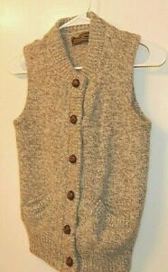 Eddie Bauer Boys M Cardigan Sweater Vest Large Leather Buttons