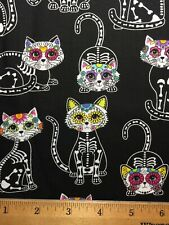Cotton Fabric Fat Quarter SUGAR SKULL CATS Wow! DIY Mask Making
