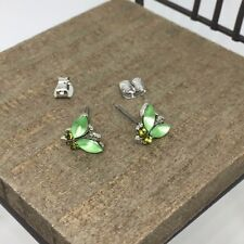 Green Butterfly Crystal Titanium Post Stud Earrings US Seller Made in Korea