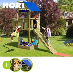 HORI Spielturm London KDI | Spielhaus mit Sandkasten, Klettersteg + Kletterseil