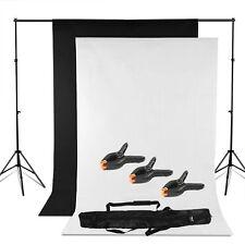 Photo Lighting Studio Support Stand Kit Set Black White Background Backdrop Free