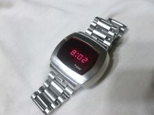 Working Vintage Men's Pulsar P4 Classic LED Watch Digital Stainless Flick Wrist