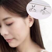 Silver Women Fashion Cute Tiny Scissor Stud Earrings Jewelry Gift