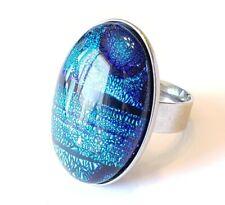 cocktail ring Murano sz 6.25 B7 Dichroic Fused Glass Blue Teal Purple Metallic