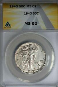 1943  .50   ANACS  MS 62  Walking Liberty, Half Dollar, Lady Liberty Half