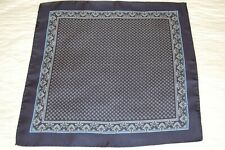 NAVY AND SILVER PAISLEY SILK POCKET SQUARE/HANDKERCHIEF. NEW