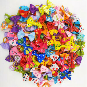 2/10Pcs Colorful Pet Dog Hair Bows Rubber Bands Cat Grooming Puppy Topknot Rope