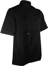 Chefscloset Unisex Short Sleeve Button Black Chef Jacket Small Chef Coat