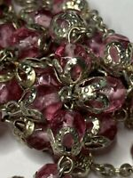 "† VINTAGE SILVER TONED SINGLE DECADE PINK GLASS ROSARY NECKLACE 30 1/4"" 42 GRS †"