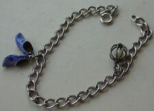 Vtg Vintage Sterling Charm Bracelet 835 Silver Dutch Shoes Faux Pearl in Cage