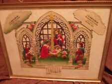Vintage Mint 1956 Embossed Advertising Calendar Nativity Framed Display Txs Gin