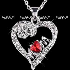 Heart Necklace Rose Silver Pendant Jewellery MUM Gifts for Her MOTHER Women D4