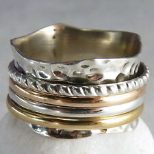 ORNATE WAVE 4 SPIN SPINNER US 7 (O) SilverSari Ring Solid 925 Stg Silver SPR1041