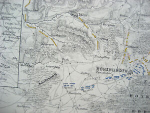 Battle Plan of HOHENLINDEN 1800 (sheet 1) War Second Coalition JOHNSTON 1866