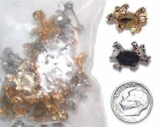 Pin Brooch Findings Turtle for 8mm x 10mm Cabs NOS 18 Gold Silver Plated