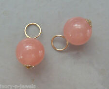 8mm Salmon Pink Chalcedony INTERCHANGEABLE Earring Charms Sterling Silver