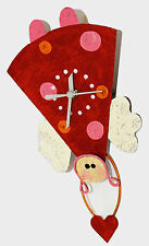 Design w/Function Cute Red Angel Wall; Clock-Look my heart moves
