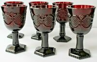6 Vintage Avon Cape Cod Ruby Red Glass Wine Goblets 4 5/8""