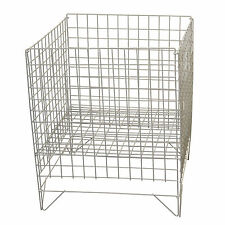 16in White Square Medium Dump Basket Bins Stand Impulse Sale Shop Retail Display