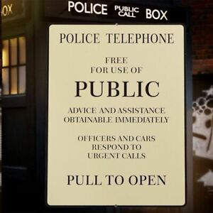 1pc Aluminum Police Call Box Warning Signs Novelty Square Plaque Vintage Beige