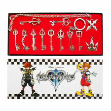 1 SET Kingdom Hearts II KEY Type Necklace Pendant Keyblade Keychain Silver Color
