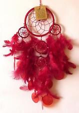 BEAUTIFUL 11.5cm RED 5 WEB DREAMCATCHER WITH FEATHERS & SHELL DISCS**