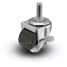 "2SBM741LB 2"" Threaded Stem Low Profile Caster Polyolefin Single Wheel with Brake"