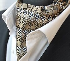 Cravat Ascot Gold & Black Cravat with matching hanky.