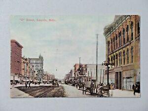 "Vintage ""O"" Street, Lincoln, Nebraska Postcard Horse Buggy Unposted 9055"