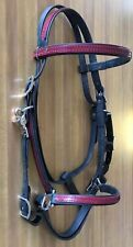 Beta Biothane Traditional Trail Halter Bridle Black And Red Stainless Steel