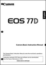 Canon Eos 77D Digital Camera User Instruction Guide Manual - Basic