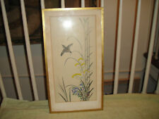 Chinese Japanese Drawing Of Bird In Flight With Plants-Rice Paper?-Framed