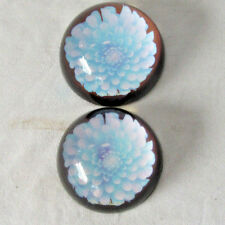 2 Vintage  Glass Paperweights, Blue Flower,  Hand Painted Round