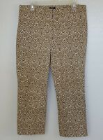 J Crew City Fit Stretch Cropped Brown Printed Pants SZ 8  Skimmer Capri  #F25