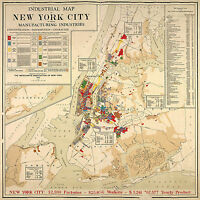New York City 1922 Industrial Map Home School Office Wall Art Poster Print Decor