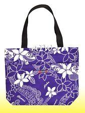 Large Hawaiian Print Tote Bag w/Top Zipper  - 802Purple