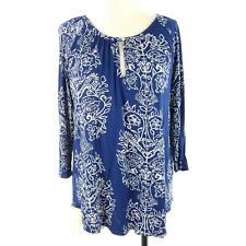 Lucky Brand Women Knit Top Size Large Blue White 3/4 Sleeve