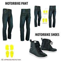 NEW Motorcycle Jeans Pant Reinforced Denim Motorbike Leather Boots Waterproof