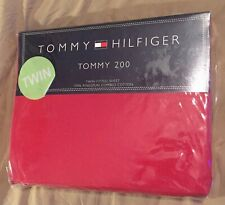 Tommy Hilfiger Twin FITTED Sheet 100% Ringspun Combed Cotton Red Tommy 200 New
