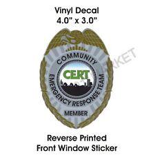 § CERT Badge Window CLING Decal Community Emergency Response Team Car Truck V 30