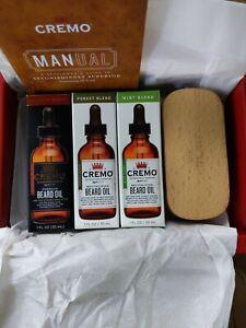 CREMO Revitalizing Beard Oils: FOREST, MINT, RESERVE Set of 3 + BRUSH ALL SEALED
