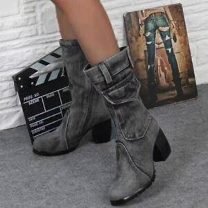 Womens Retro Block Heel Mid-calf Denim Boots Cowboy Spring Fall Casual Bootie