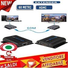 1080P FULL HD 3D EXTENDER HDMI IR SU CAVO LAN CAT6 RJ45 60 METRI ESTENSIONE