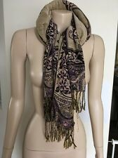 "Pre-loved ""Pashmina"" 100% wool Pashmina purple cream blue foral leaf scarf wrap"