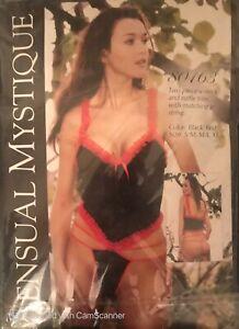Sensual Mystique Black/Red  2 PieceV Neck and Ruffle Trim Cami W/ Matching G Str
