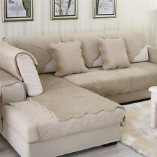 2pcs Sofa Velvet Couch Cover Quilted Sectional Couch for Dog Cat Pet Love Seat