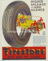ORIGINAL ADVERTISING   1930'S FIRESTONE TYRES SUPERB ART DECO GRAPHICS