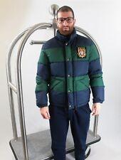 Polo Ralph Lauren - Down Puffer Jacket Coat Parka - Navy Green Striped - Small S